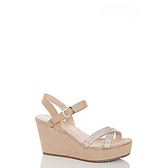 Quiz - Beige faux suede diamante strap wedges