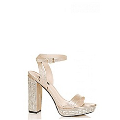Quiz - Rose gold metallic diamante heel sandals