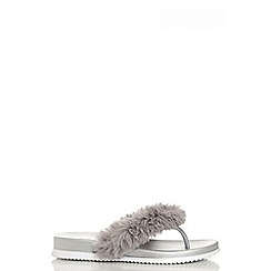 Quiz - Silver metallic faux fur trim sandals