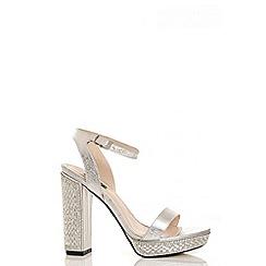 Quiz - Silver metallic diamante heel sandals