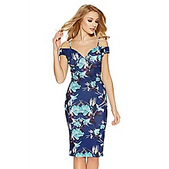 Quiz - Navy and aqua flower print midi dress