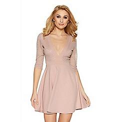 Quiz - Nude mesh low neck skater dress