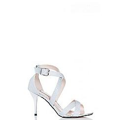 Quiz - Silver shimmer strappy mid heel sandals