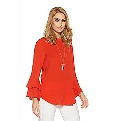 Quiz - Orange frill sleeve necklace top