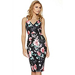 Quiz - Black and pink floral print bodycon midi dress