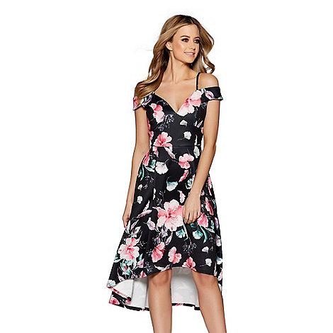 Quiz Black And Pink Floral Print Bardot Dip Hem Dress