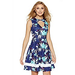 Quiz - Navy and cream floral print keyhole skater dress