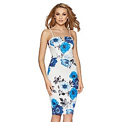 Quiz - Cream and blue floral strappy midi dress