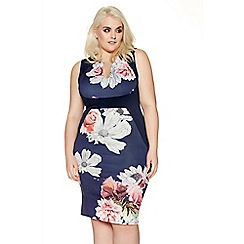 Quiz - Navy curve floral bodycon dress
