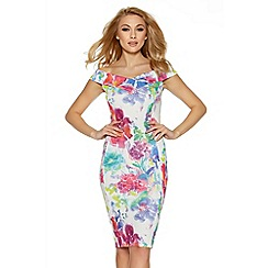 Quiz - White and pink flower print bardot midi dress
