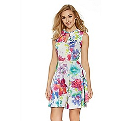 Quiz - White and pink flower print skater dress
