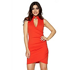 Quiz - Red ruched choker detail bodycon dress