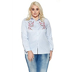 Quiz - Curve blue stripe embroidered flower shirt