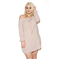 Quiz - Curve pink bardot bow detail tunic dress