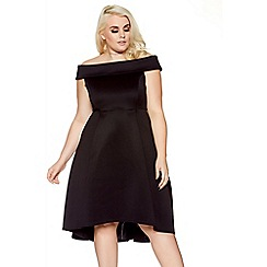 Quiz - Curve black scuba bardot skater dress