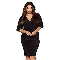 Quiz - Curve black pleated v neck midi dress
