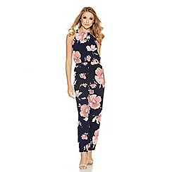 Quiz - Navy and pink flower print high neck jumpsuit