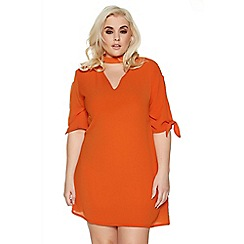 Quiz - Curve orange choker detail tie sleeves tunic dress