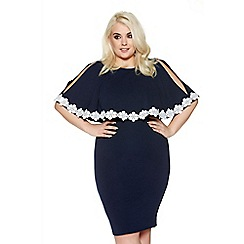 Quiz - Curve navy and cream lace trim overlay dress