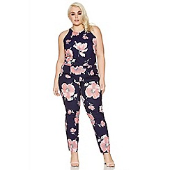 Quiz - Curve navy and pink floral print high neck jumpsuit