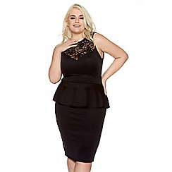 Quiz - Black curve lace sweetheart neck peplum midi dress