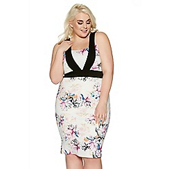 Quiz - Cream curve floral print panel dress