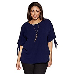Quiz - Navy curve crepe necklace top