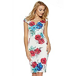 Quiz - Cream pink and blue floral print bodycon midi dress