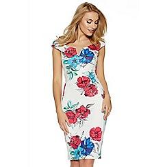 Quiz - Cream pink and blue floral print bodycon midi dress