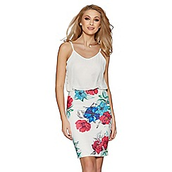 Quiz - Cream pink and blue floral print bubble midi dress