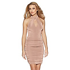 Quiz - Nude keyhole ruched bodycon dress