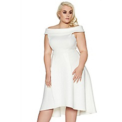 Quiz - Curve cream scuba bardot skater dress