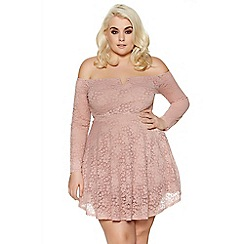 Quiz - Curve pink lace bardot skater dress