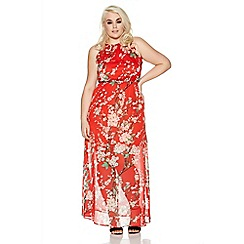 Quiz - Curve red chiffon high neck floral maxi dress