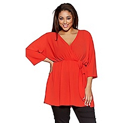 Quiz - Curve red chiffon wrap tie front top