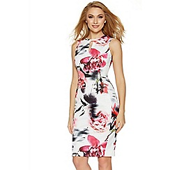Quiz - Cream and pink flower print keyhole bodycon dress