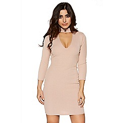 Quiz - Nude eyelet detail choker neck bodycon dress