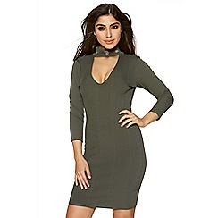 Quiz - Khaki eyelet detail choker neck bodycon dress