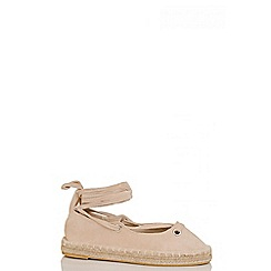 Quiz - Nude lace up espadrille pumps