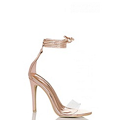 Quiz - Rose gold metallic lace up perspex sandals