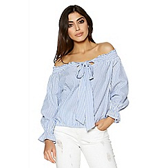 Quiz - White and blue stripe bow front bardot top