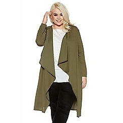 Quiz - Curve khaki long sleeve waterfall jacket