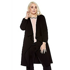 Quiz - Curve black long sleeve waterfall jacket