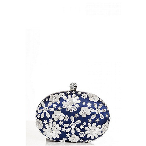 Quiz - Navy embellished oval clutch bag