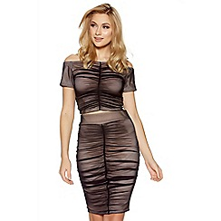 Quiz - Black mesh ruched front midi skirt