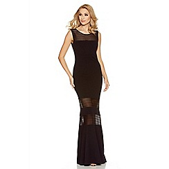 Quiz - Black mesh insert fishtail maxi dress