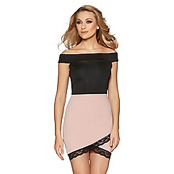 Quiz - Black and pink lace trim bardot bodycon dress