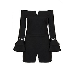 Quiz - Black bardot frill lace sleeves playsuit