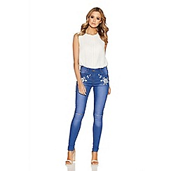 Quiz - Light blue rose embroidered skinny jeans