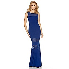 Quiz - Royal blue mesh insert fishtail maxi dress
